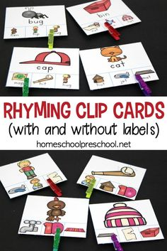 Are you looking for a fun resource to teach rhyming? These hands-on rhyming clip cards focus on rhyming words and fine motor skills. Rhyming Kindergarten, Rhyming Activities, Kindergarten Centers, Preschool Literacy, Free Preschool, Preschool Printables, Teaching Kindergarten, Preschool Tables, Teaching Themes