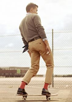 Karim Sadli Kilian Martin Man About Town Editorial Mens Style Blog Skateboard Retro Fifties Inspired Cropped Pants Bright Socks 1
