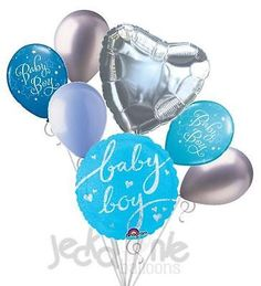 7 pc Holographic Baby Boy Balloon Bouquet Party Decoration Welcome Home Shower Baby Boy Balloons, Heart Balloons, Round Balloons, Balloon Bouquet, Welcome Home, Latex Balloons, Holographic, Baby Blue, Christmas Bulbs