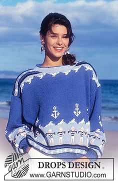 "DROPS 25-3 - DROPS jumper with sailors and anchor pattern in ""Paris"". - Free pattern by DROPS Design"