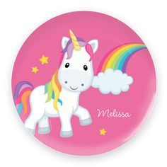 A super cute melamine plate with a Unicorn and a rainbow design. Very durable. The perfect gift for kids.