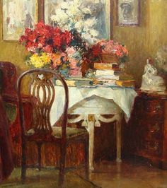 Karl Storch Interior with Flowers 1914@@@@@......http://www.pinterest.com/lindafloyd1001/art-interiors/ @@@@@@