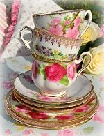 mismatched pink and green vintage teacups