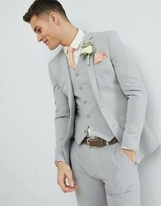 Light Gray Mens Slim Fit Suit Tuxedo Groom Wedding Prom Party Stylish Suit New The Suits, Prom Suits For Men, Mens Prom Suits, Grad Suits, Grey Suit Wedding, Wedding Men, Formal Wedding, Formal Prom, Wedding Dinner