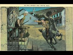 """"""" The Midnight Ride of Paul Revere """" Vintage Post Card. A linen surface era card with a DB-USD-PM at Newton, Mass. and in Excellent condition. Paul Revere's Ride, Liberty Kids, Henry Wadsworth Longfellow, History For Kids, Teaching History, American Revolution, Vintage Postcards, Historical Photos, The Ordinary"""