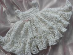 White Crocheted Baby Girl Dress With Full por everythingswhite