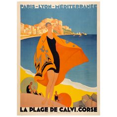 Vintage Art Deco French railways travel poster promoting the beach at Calvi, Corsica in the Mediterranean by Roger Broders.