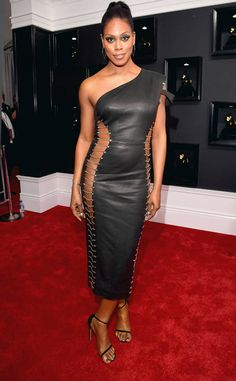 grammy-awards-arrivals-laverne-cox In Bryan Hearns #DRESS #Red #Redcarpet #Black #Lace ©Lester Cohen/WireImage