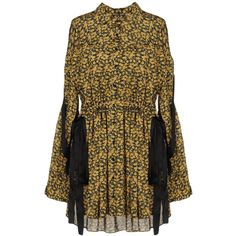 Magda Butrym Short Dress (25,085 THB) ❤ liked on Polyvore featuring dresses, ochre, floral print dress, long sleeve floral dress, mini dress, laced dress and long sleeve dress