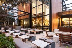 Otium Restaurant in Downtown LA Otium Restaurant, The Broad Museum, Downtown Restaurants, Restaurant Interior Design, Modern Restaurant, Rooftop Bar, Best Dining, Patio Dining, Architect Design
