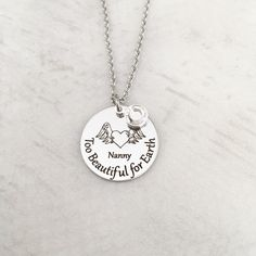 """Too Beautiful for Earth"" Loss of Loved One Necklace Jewelry Stamping, Stamped Jewelry, Memorial Jewelry, Memorial Gifts, Loss Of Loved One, Heart With Wings, Swarovski Stones, Sympathy Gifts, Tatoo"