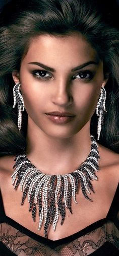 Rosendorff 'Indulgence Collection' Black and White Diamond Necklace with Matching Earrings