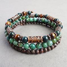 Mens Wrap-around Memory Wire Bracelet - Bloodstone, Tiger Eye, African Jade, Brown Jasper Gemstones - Handcrafted in USA *** Click image for more details.