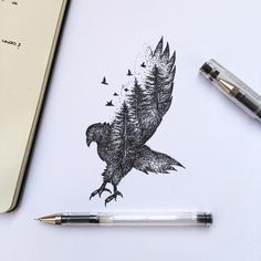 Maybe my eagle tattoo should encorporate evergreens....but have her soaring instead of landing/diving down. Possibly incorporate darker green on the trees.....possibly some brown on the bark/eagle? Or just have green and keep the rest black like this? Have the eagle tail be a huge evergreen? Or a cluster of wide ones? Or just keep the tail as feathers?