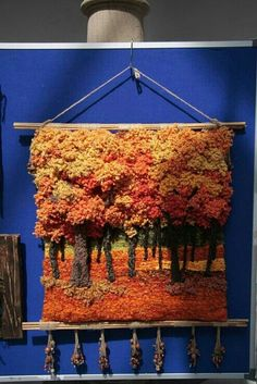 of Autumn (photo only) Weaving Textiles, Weaving Art, Weaving Patterns, Tapestry Weaving, Loom Weaving, Hand Weaving, Weaving Wall Hanging, Felt Pictures, Textile Fiber Art
