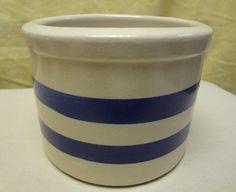 Vintage RRP Roseville Ohio Stoneware Pottery 1pt Blue Stripe Crock Bowl USA 4.5