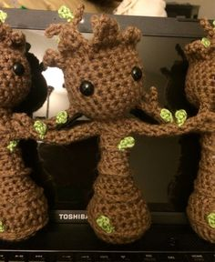 This is a crocheted amigurumi tree doll crocheted by me. If you were to look inside this little guy you would find fluff, pipe cleaners (so he can