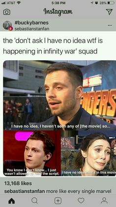 I think Downey and Evans know, but they might be the only ones with full knowledge>> Nahhh. Benedict Cumberbatch knew. Funny Marvel Memes, Dc Memes, Avengers Memes, Marvel Jokes, Marvel Actors, Marvel Dc Comics, Marvel Heroes, Marvel Avengers, Tom Holland