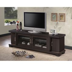 Shop for Baxton Studio Vega Contemporary 70-Inch Dark Brown Wood TV Cabinet with 2 Glass Doors and 2 Doors. Get free shipping at Overstock.com - Your Online Furniture Outlet Store! Get 5% in rewards with Club O!