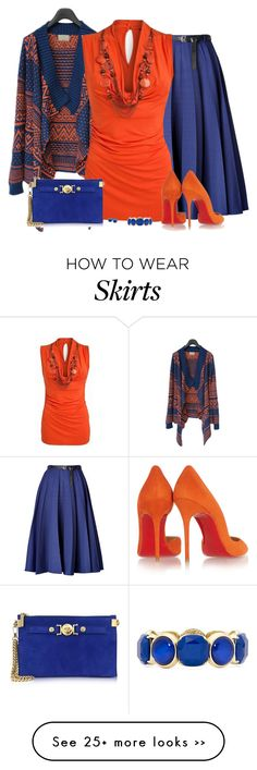 """""""Blue Skirt and Orange Blouse"""" by daiscat on Polyvore featuring Vionnet, Star by Julien Macdonald, Christian Louboutin, Versace, Honora and Monet"""