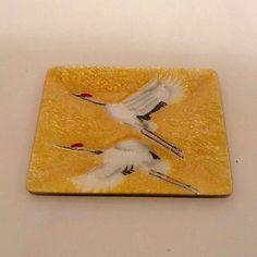 Vintage Ando Cloisonne Colorful Enamel Japanese Floral Bird Dish Platter Plate