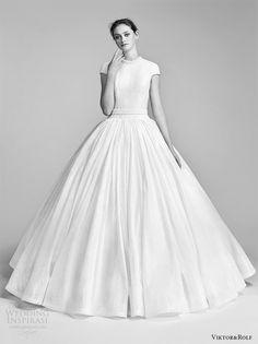 viktor and rolf spring 2018 bridal cap sleeves high neck drop waist ball gown wedding dress (10) mv romantic modern -- Viktor