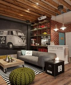 5 Inspiration Settings for your Industrial lounge room Here you have some incredible ideas for your industrial lounge room. The industrial style os all about transform what's old into something new and beautiful. Living Room Decor, Living Spaces, Living Rooms, Small Living, Apartment Living, Modern Living, Man Cave Living Room, Apartment Office, Loft Office