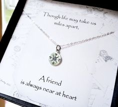 Compass necklace, Friendship card, silver compass charm, Friendship necklace, best friends gift, graduation gift