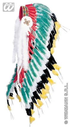 Deluxe Green Red feather Indian Headdress