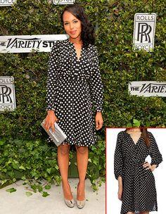 Covet: Kerry Washington's Adele dress by Kate Spade, $448. Love it: Isaac Mizrahi Jeans Women's Polkadot Effie Dress, $70.62