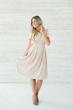 Floral Tea Dress- Mocha