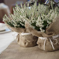 Rustic Wedding Table decorations, including burlap runners and burlap accessories, napkin rings, hessian wedding decor, burlap cutlery sleeves Burlap Centerpieces, Burlap Wedding Decorations, Wedding Table Centerpieces, Burlap Party, Bridal Table, Centerpiece Ideas, Diy Centrepieces, Potted Plant Centerpieces, Lavender Centerpieces