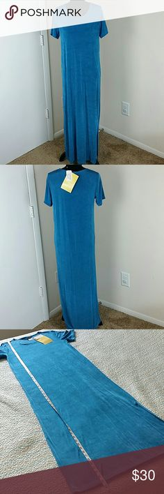 NWT Citiknits QVC Med Blue Maxi Short Sleeve Caree NWT Citiknits QVC Med Blue Maxi Short Sleeve Career Work Wear Stretch Knit Dress Citiknits Dresses Maxi