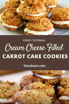 This Carrot Cake Cookies with Cream Cheese Filling is a taste sensation. They are utterly delicious and we have a video tutorial to show you how. Carrot Cake Sandwich Cookies, Carrot Cake Cookies, Cookie Sandwiches, Baby Cookies, Baking Recipes, Cookie Recipes, Dessert Recipes, Desserts, Cream Cheese Cookies