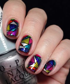 OPI Color Paints nail art - geometric leadlight stamping technique with MdU and Bundle Monster   Sassy Shelly