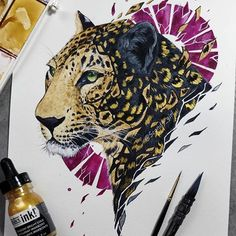 Trying out some other ideas I've had lately! Thought it would be interesting to combine color variations this way, ofc golden spots arent… Animal Sketches, Animal Drawings, Cool Drawings, Art Sketches, Illustration Cartoon, Art Watercolor, Ink Art, Cool Artwork, Zentangle