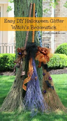 Easy DIY Halloween Glitter Witch's Broomstick; simple and fun to make Halloween Witch's Glitter Broomstick Tutorial DIY project. With just an hour of your time, and you have a wonderful 6 foot tall witch's broomstick to make your Halloween decor, or costume, complete!