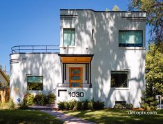 In addition to Art Deco commerical architecture, Denver has a handful of Streaml. - In addition to Art Deco commerical architecture, Denver has a handful of Streamline Moderne houses - Window Grill Design Modern, 3 Storey House Design, Modern Japanese Architecture, Architecture Art, Denver, Art Deco Buildings, Art Deco Home, Art Nouveau, Up House