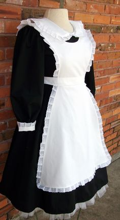 Every production of Annie includes house maids to take care of all the orphans. THe little cap is perfect and easy to wear. Costume includes black dress with white cuffs, white half apron edged in eyelet and a tie-on maid's cap also edged in pleated eyelet.  Sizes 10, 12 & Teen - $115.00