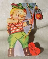VINTAGE 1930s VALENTINE Die Cut Moveable Stand Up ARCHER Bow & Arrow