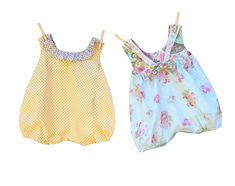 "The ""Jillian"" Bubble Romper, quick & easy sewing pattern for babies! Baby Sewing, Sew Baby, Easy Sewing Patterns, Bubbles, Rompers, Summer Dresses, Fashion, Moda, Summer Sundresses"