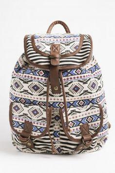 Black & red plaid flannel backpack