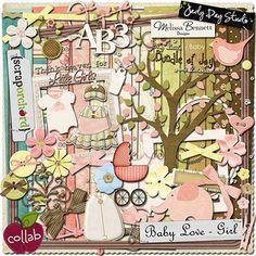 Baby love girls Scrapbooking Freebies, Digital Scrapbooking, Digital Papers, Cute Scrapbooks, Scrapbook Embellishments, Newsletter Templates, Girls In Love, Digital Image, Baby Love