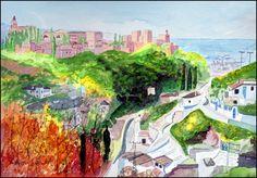 https://flic.kr/p/TMVYnq | The Alhambra from Sacromonte | The Alhambra from Sacromonte, Granada, watercolour