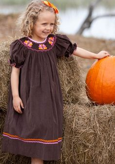 Girls hand smocked corduroy Turkey Bishop Dress. Only $52
