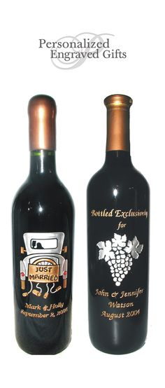 Engraved Wine Bottles For Wedding Gift : ... Anniversary Gifts on Pinterest Flute, Wine Coolers and Wine Bottles