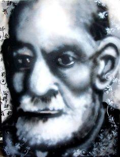 Freud spray paint portrait Http://eyescreampaintshop.com