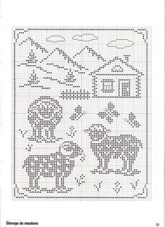 ru / Foto # 26 - Point de croix Collector Avril-Mai 2009 - natalytretyak Plus Filet Crochet, Crochet Sheep, Crochet Cross, Crochet Chart, Crochet Patterns, Loom Patterns, Sheep Cross Stitch, Cross Stitch Animals, Cross Stitch Charts