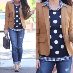 StylishPetite.com | Camel blazer, polka dot sweater, gingham shirt, distressed denim jeans, navy bow pumps, fall outfit, preppy layers outfit