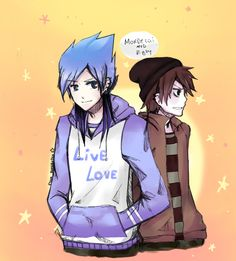 mordecai AND RIGBY, human in anime form. HOT! love them